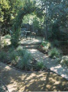 Client wanted a primarily drought tolerant garden, with lush plantings around the pond and new 2'x6' vegetable boxes.